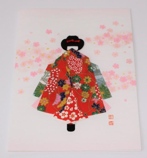 Grußkarte Geisha Rücken