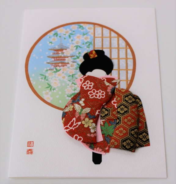 Grußkarte Geisha Fenster Pagode