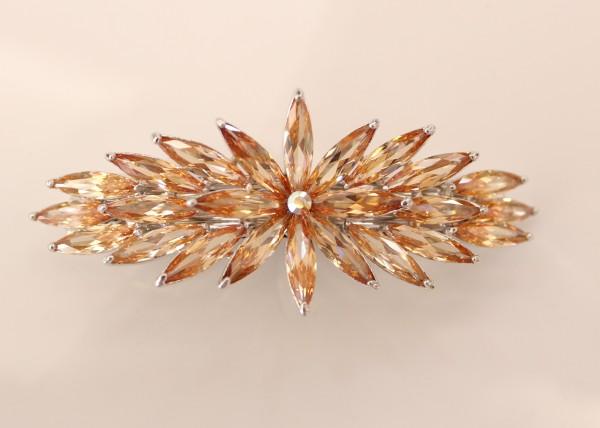 Haarspange groß mit Orangener Blume