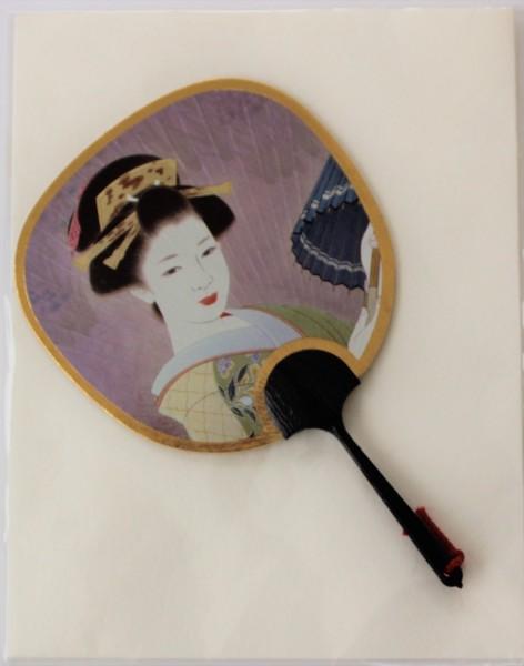 Kleiner Fächer und Grußkarte Geisha